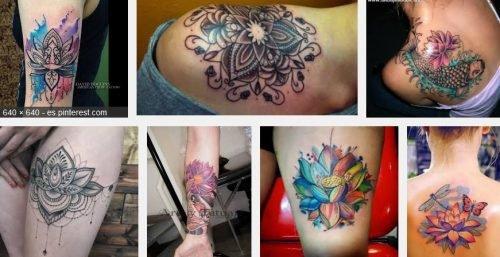 tatuajes de flor de loto de color