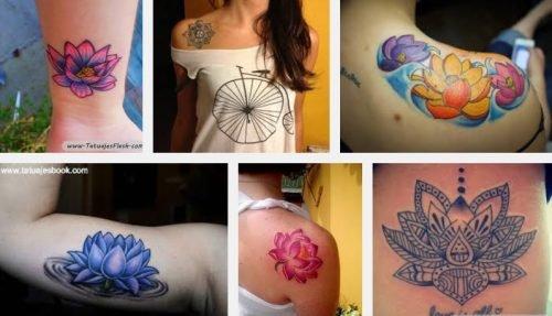 flores de loto coloridas tatuadas