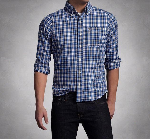 camisa casual a cuadros hombre