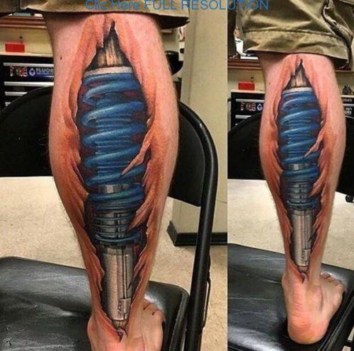 tatuajes 3d en la pierna