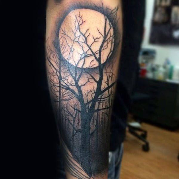 Tatuajes de BOSQUES luna llena