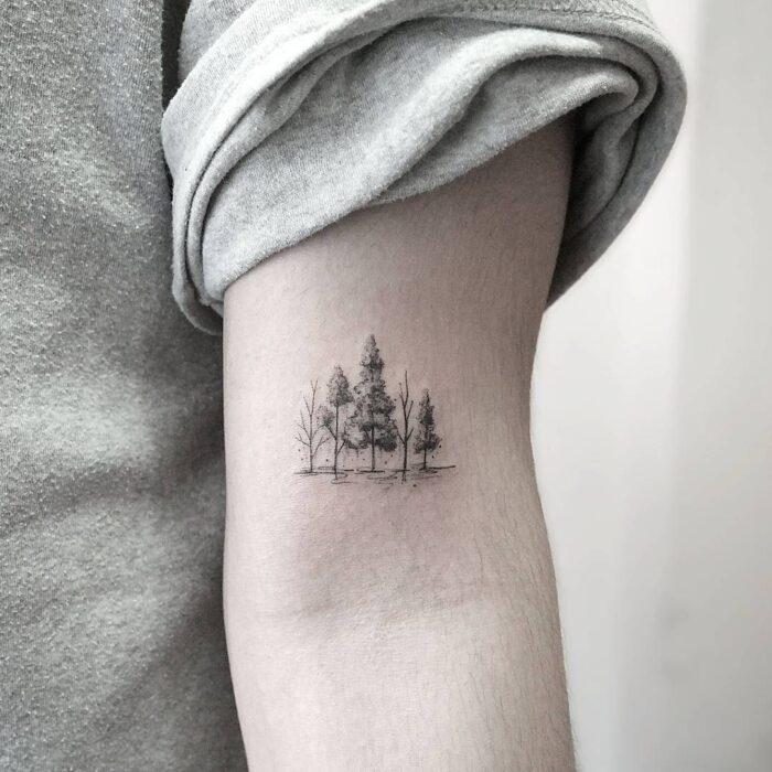 Tatuajes de BOSQUES minimalista pocos detalles