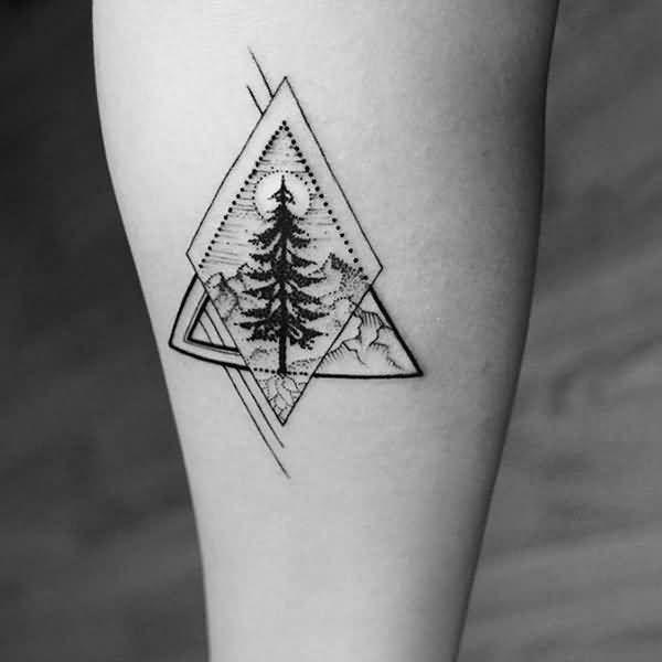 Tatuajes de BOSQUES minimalista geométrico