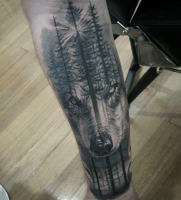 Tatuajes de BOSQUES lobo