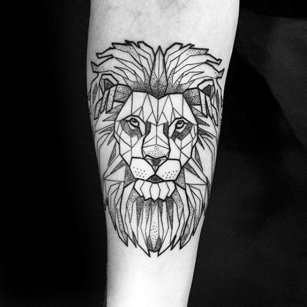 Tatuaje geométrico de león