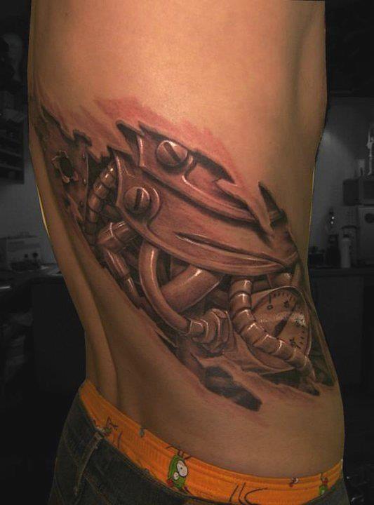 Tatuajes 3d mecánico costillas