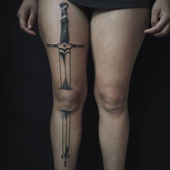 tatuaje de espada efecto 3d